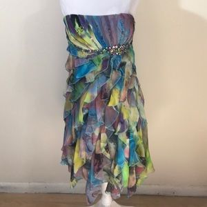 Cache Rainbow Party Strapless Dress